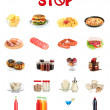 Collage of different unhealthy food — Stock Photo
