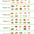 Collage of various food products containing vitamins — Stock Photo #30869243