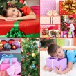 Collage of celebrating Christmas at home — Stock Photo