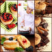 Collage of confectionery theme consisting of delicious pastries and cook — Stock Photo
