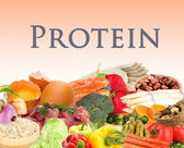 Collage of products containing protein — Stock Photo