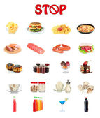 Collage of different unhealthy food — Zdjęcie stockowe