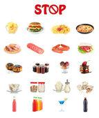 Kolaż różnych niezdrowej żywności — Zdjęcie stockowe