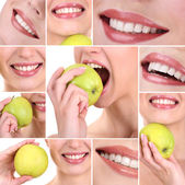 Collage of woman mouth with healthy teeth — Stock Photo
