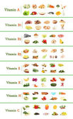 Collage of various food products containing vitamins — Stock Photo