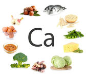 Collage of products containing calcium — Stock Photo
