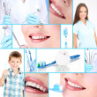 Collage of photographs on the theme of healthy teeth — Stock Photo #30870095
