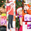 Collage of happy family celebrating Christmas at home — 图库照片