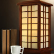 Stock Photo: Japanese table lamp on brown background