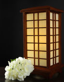 Japanese table lamp on grey background — Stock Photo