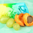 Piece of handmade soap with fruit flavor, on bright background — Stock Photo #30884019