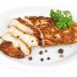 Roasted chicken fillets on white plate, isolated on white — Stock Photo