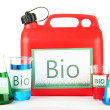 Stock Photo: Bio fuels in canister and vials isolated on white