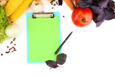 Taze sebze ve baharat ve kağıt üzerinde beyaz izole notlar için — Stok fotoğraf