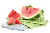 Fresh watermelon isolated on white — Stock Photo