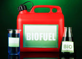 Bio fuels in canister and vials on green background — Stockfoto