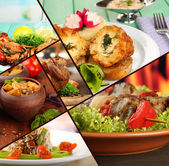 Collage of tantalizing culinary dishes — Stock Photo