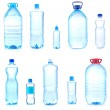 Collage of different bottles with water — Stockfoto
