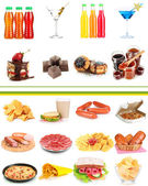 Collage of different unhealthy food — ストック写真