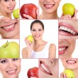 Collage of photographs on the theme of healthy teeth — Stock Photo
