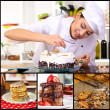 Collage of confectionery theme consisting of delicious pastries and cook — Stock Photo #30930493