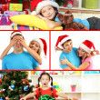 Collage of happy family celebrating Christmas at home — Stock Photo #30930763