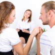Young couple with problem on reception for family psychologist — Stock Photo #30933985