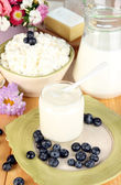 Fresh dairy products with blueberry on wooden table close-up — Stock Photo