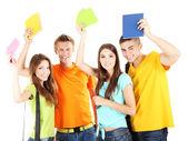 快乐群美丽的年轻学生,孤立在白色 — 图库照片