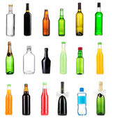 Collage of different bottles of liquids — Stock Photo