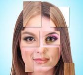 Rostro femenino humano hecho de diferentes personas, concepto artístico — Foto de Stock