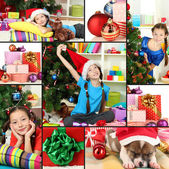 Collage of celebrating New Year at home — Stock Photo