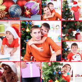 Collage of happy family celebrating New Year at home — Stockfoto