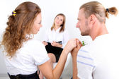 Young couple with problem on reception for family psychologist — Stock Photo