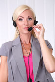 Call center operator in office — Stock Photo