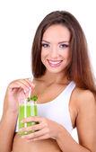 Beautiful girl with fresh juice isolated on white — Stock Photo