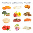 Collage of products containing protein — Stock Photo #31012433