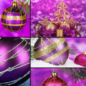Collage des décorations de noël pourpre — Photo