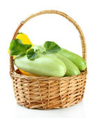 Raw yellow and green zucchini in wicker basket, isolated on white — Stock Photo
