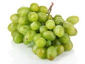 Ripe green grapes isolated on white — Stock Photo