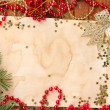 Christmas card on wooden table — Stock Photo #31021197