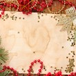 Stock Photo: Christmas card on wooden table