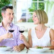 Beautiful couple having romantic dinner at restaurant — Stock Photo #31021857