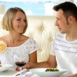 Beautiful couple having romantic dinner at restaurant — Stock Photo #31021863