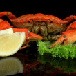 Stock Photo: Boiled crabs isolated on black