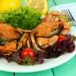 Stock Photo: Boiled crabs on white plate with salad leaves and tomatoes,on wooden table background