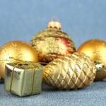 Christmas decorations on blue background — Stock Photo