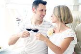 Beautiful couple having romantic dinner at restaurant — Stock Photo