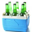 Stock Photo: Bottles of beer with ice cubes in mini refrigerator, isolated on white