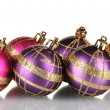Beautiful purple and pink Christmas balls isolated on white — Stock Photo #31107267
